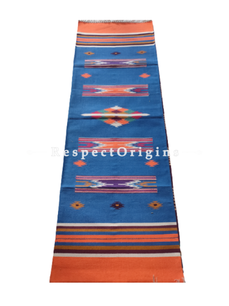 Blue With Orange Border Waranagal Interlocked Cotton Floor Runner with Geometrical Design ; Size 2x6 Ft; RespectOrigins.com