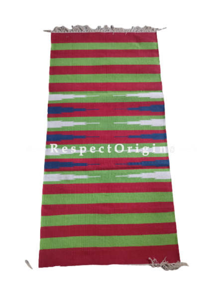 Green with Red Stripes  Waranagal Interlocked Cotton Floor Runner with Geometrical Design ; Size 2x6 Ft; RespectOrigins.com