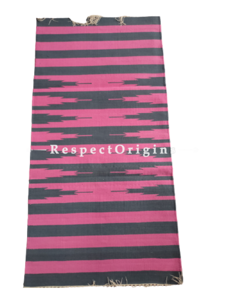 Pink with Black Stripes Waranagal Interlocked Cotton Floor Runner ; Size 2x6 Ft; RespectOrigins.com