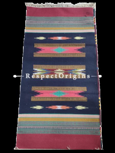 Blue with Red Border Waranagal Interlocked Cotton Floor Runner with Geometrical Design ; Size 2x6 Ft; RespectOrigins.com