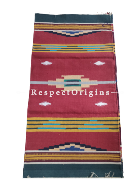 Red with Blue Border Waranagal Interlocked Cotton Floor Runner with Geometrical Design ; Size 2x6 Ft; RespectOrigins.com