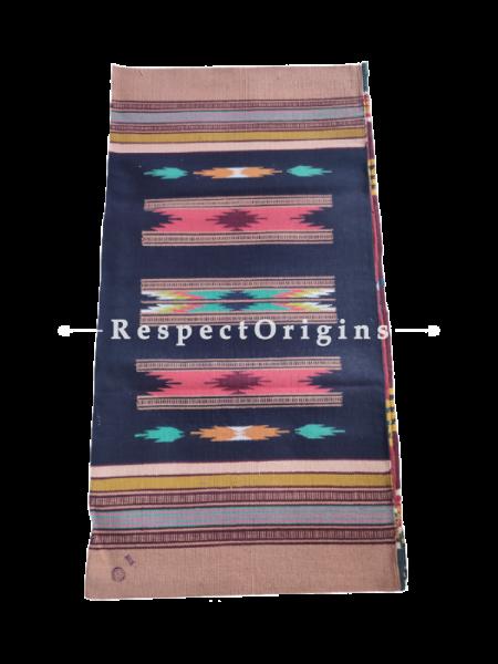 Blue with Brown Border  Waranagal Interlocked Cotton Floor Runner with Geometrical Design ; Size 2x6 Ft; RespectOrigins.com