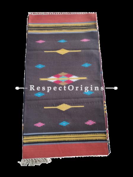 Black with Red Border Waranagal Interlocked Cotton Floor Runner with Geometrical Design ; Size 2x6 Ft; RespectOrigins.com