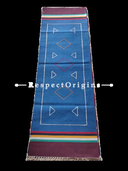 Blue Waranagal Interlocked Cotton Floor Runner with Geometrical Design ; Size 2x6 Ft; RespectOrigins.com
