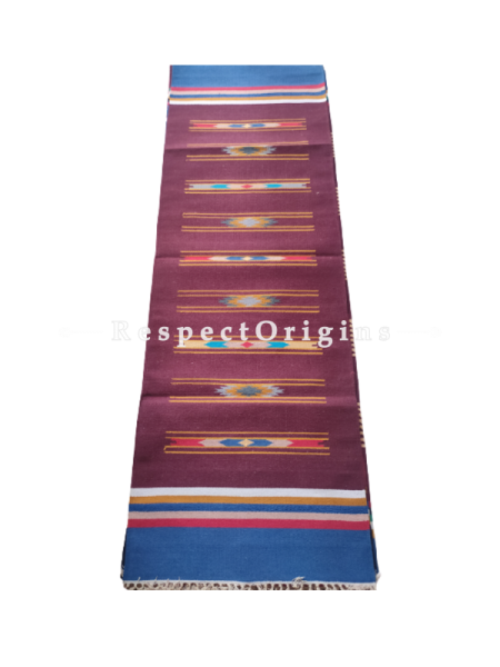Brown Waranagal Interlocked Cotton Floor Runner with Geometrical Design ; Size 2x6 Ft; RespectOrigins.com