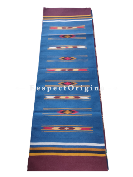 Blue Waranagal Interlocked Cotton Floor Runner with Geometrical Design ; Size 2x6 Ft; RespectOrigins.com