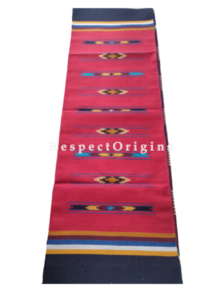 Red Waranagal Interlocked Cotton Floor Runner with Geometrical Design ; Size 2x6 Ft; RespectOrigins.com