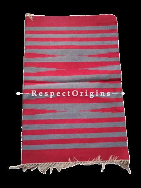 Red with Gray Stripes Waranagal Interlocked Cotton Floor Runner with Geometrical Design ; Size 2x6 Ft; RespectOrigins.com