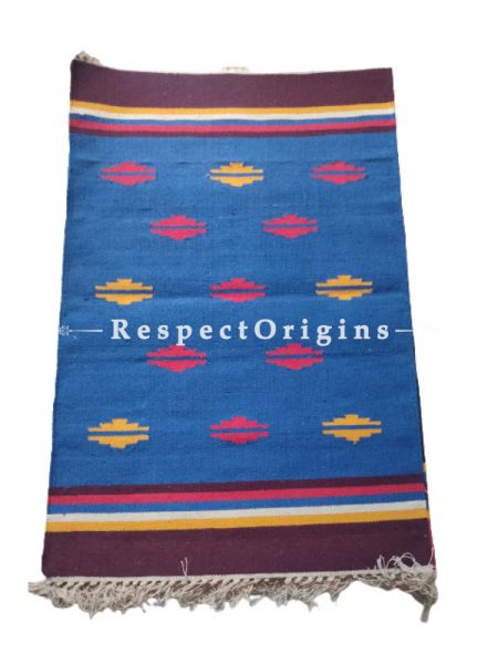 Blue Waranagal Interlocked Cotton Rugs  with Geomertical Design