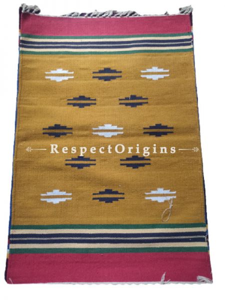 Brown Waranagal Interlocked Cotton Rugs  with Geomertical Design