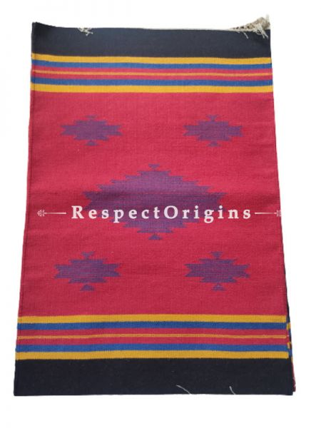 Red Waranagal Interlocked Cotton Rugs  with Geomertical Design