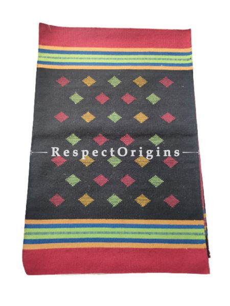 Black Waranagal Interlocked Cotton Rugs  with Geomertical Design