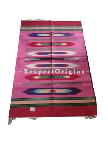 Pink Waranagal Interlocked Cotton Rugs  with Geomertical Design