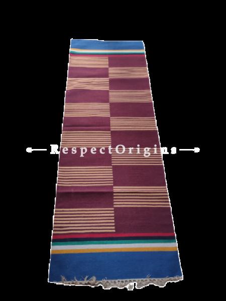 Brown with Blue Border Waranagal Interlocked Cotton Floor Runner with Geometrical Design ; Size 2x6 Ft; RespectOrigins.com