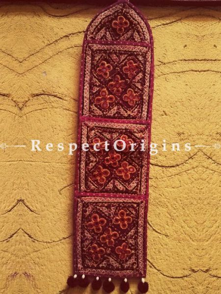 Fabulous Kutchi Embroidery Letter-Holder With 3 Compartments; Wall Hanging; H26xW6 Inches; RespectOrigins.com