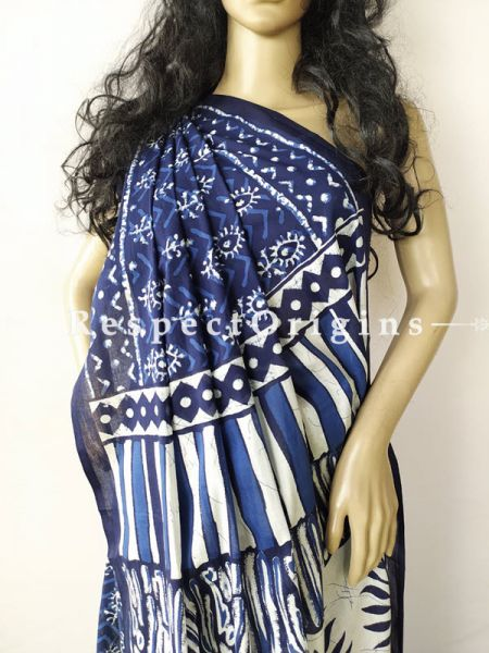 Buy Blue with White Floral  Breezy Dabu Hand Printed Mul Cotton Saree with Blouse at RespectOrigins.com