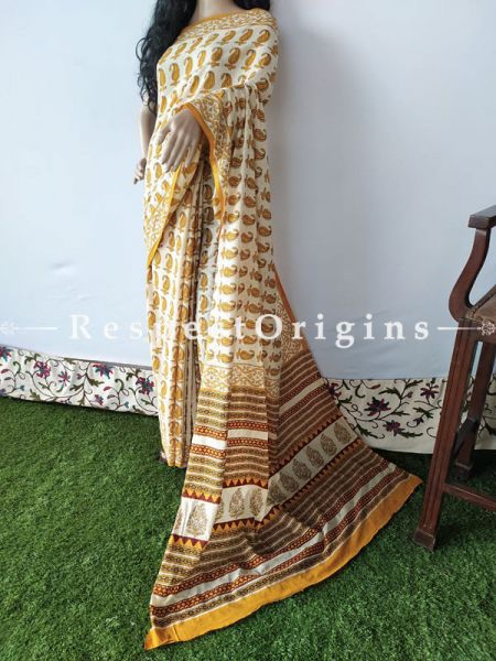 Light Brown Breezy Dabu Hand Printed Mul Cotton Saree with Blouse