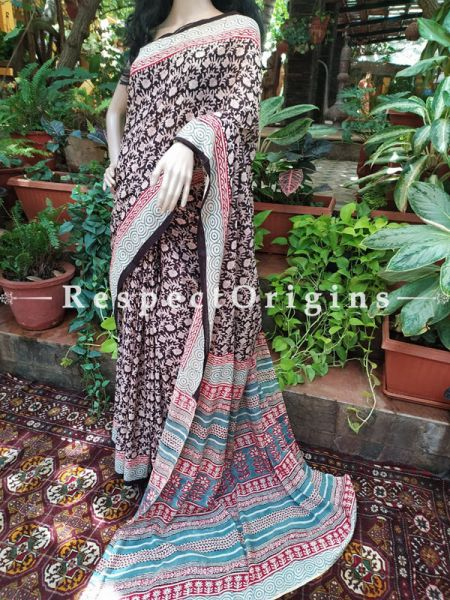 Pure Cotton Mul Block Print Summer Saree with Blouse.