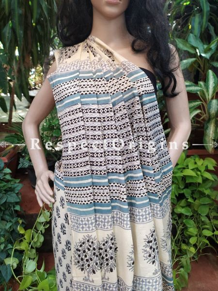 Mul Linen Cotton Floral Saree with Blouse; Hand-block print