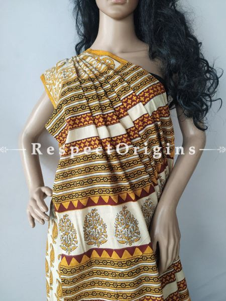 Buy Light Brown Breezy Dabu Hand Printed Mul Cotton Saree with Blouse at RespectOrigins.com