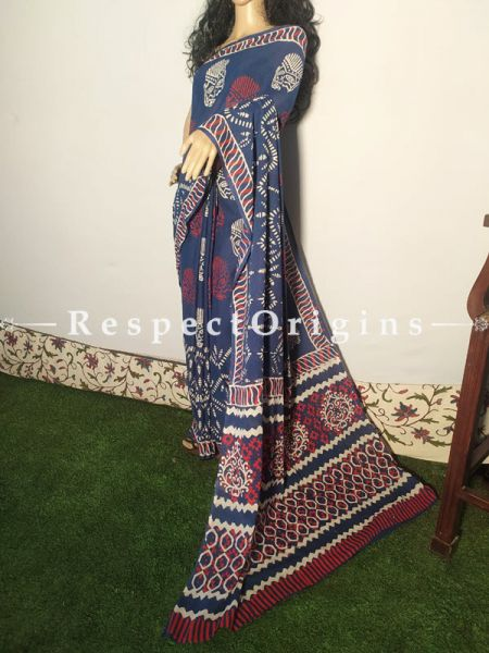Dark Blue Breezy Dabu Hand Printed Mul Cotton Saree with Blouse