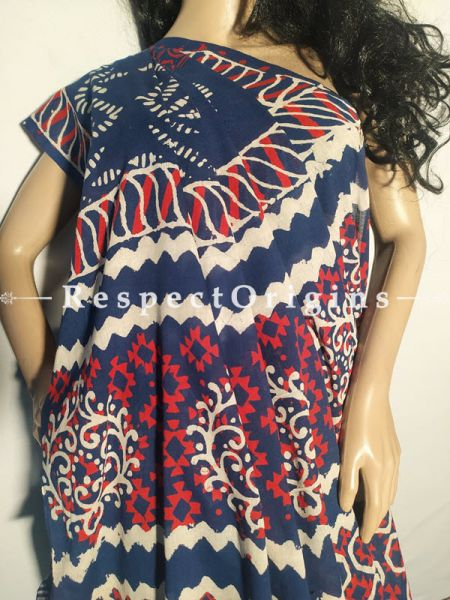 Buy Dark Blue Breezy Dabu Hand Printed Mul Cotton Saree with Blouse at RespectOrigins.com