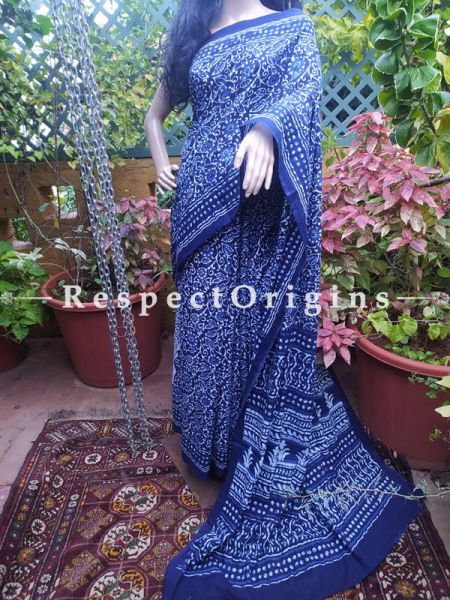 Blue Floral Breezy Dabu Hand Printed Mul Cotton Saree with Blouse