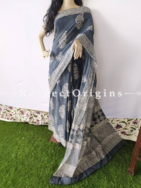 Dark Blue with White Design Breezy Dabu Hand Printed Mul Cotton Saree with Blouse