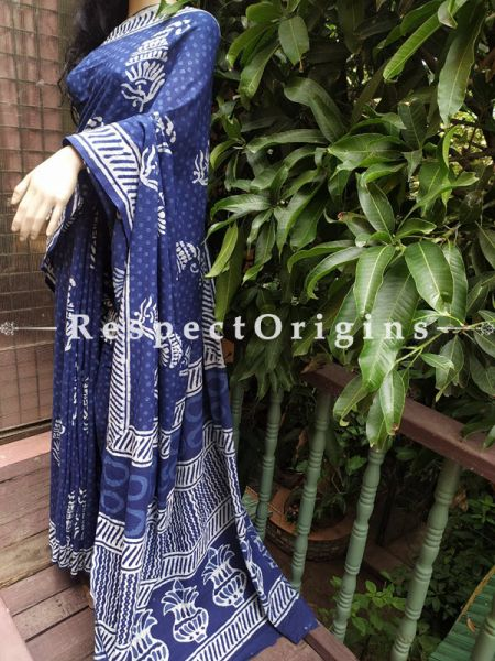 Blue Floral Dabu Hand Printed Mul Cotton Saree with Blouse