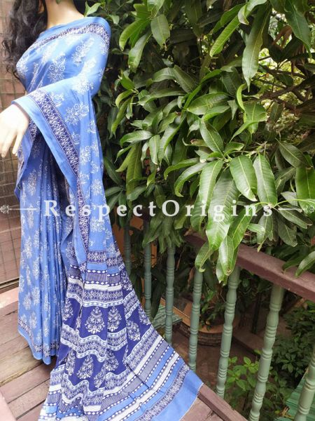 Blue Dabu Hand Printed Mul Cotton Saree with Blouse