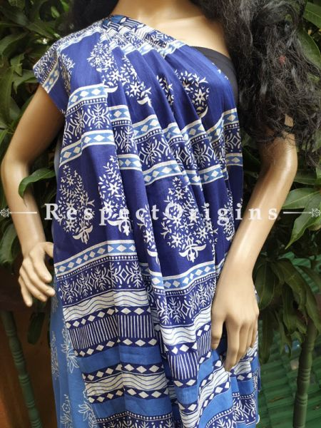 Buy Blue Dabu Hand Printed Mul Cotton Saree with Blouse at RespectOrigins.com