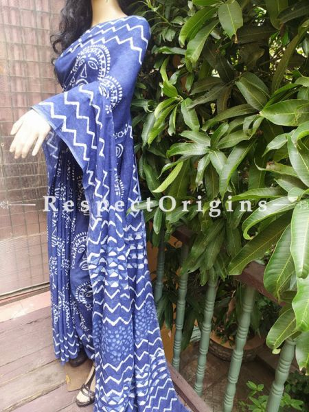 Blue Breezy Dabu Hand Printed Mul Cotton Saree with Blouse