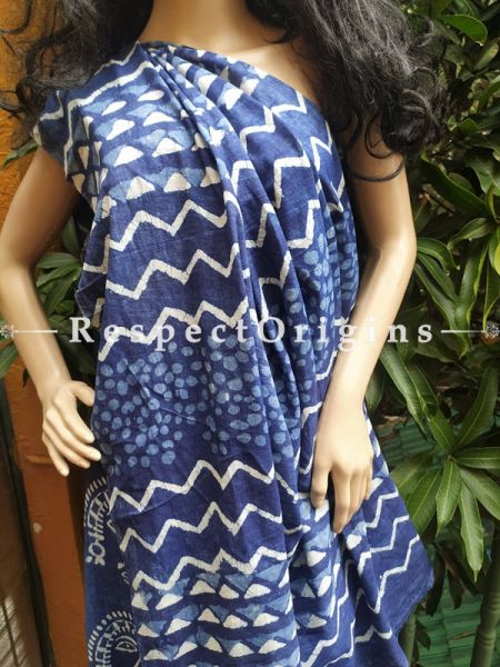 Buy Blue Breezy Dabu Hand Printed Mul Cotton Saree with Blouse at RespectOrigins.com