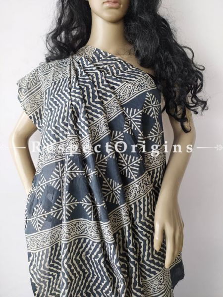 Buy Dark Blue with White Design Breezy Dabu Hand Printed Mul Cotton Saree with Blouse at RespectOrigins.com
