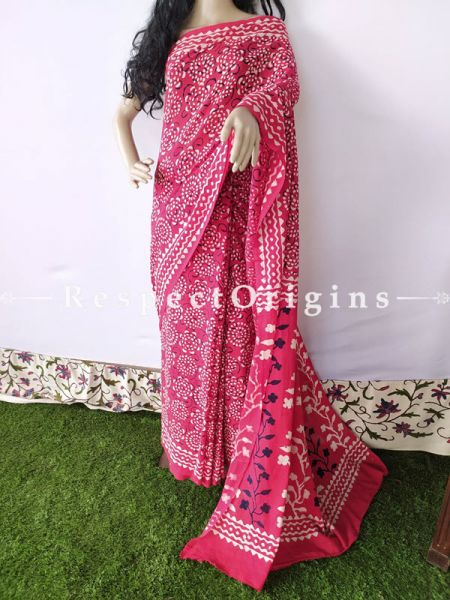 Pink Breezy Dabu Hand Printed Mul Cotton Saree with Blouse