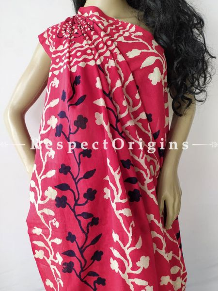 Buy Pink Breezy Dabu Hand Printed Mul Cotton Saree with Blouse at RespectOrigins.com