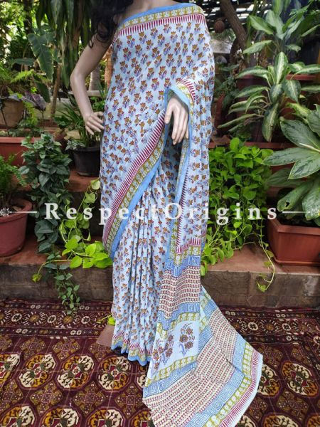 Mul Linen Cotton Floral Saree with Blouse; Hand-block print.