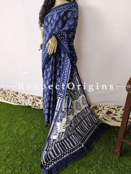 Blue with White Floral  Breezy Dabu Hand Printed Mul Cotton Saree with Blouse