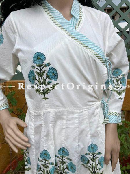 Trendy White Cotton  Hand Block Printed Floral Pattern Dress for Women; Free Size; RespectOrigins.com