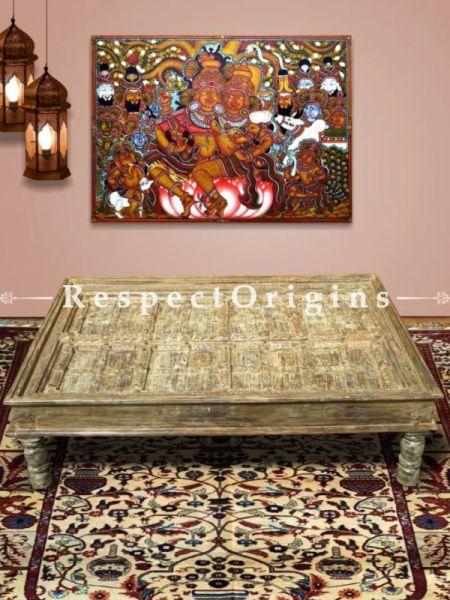 Buy Mid Century Door Frame Vintage Coffee Table Country wood legs and teak door frame. Feet in Reclaimed Wood! At RespectOrigins.com