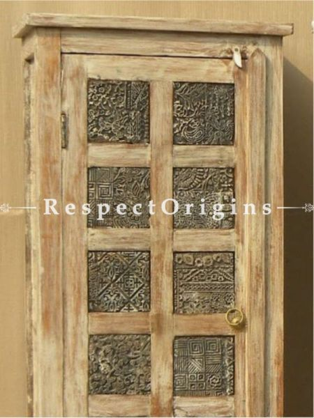 Buy Country Wooden Old Printing Block Single Door Almirah; 22x16x66 in; Pair At RespectOrigins.com