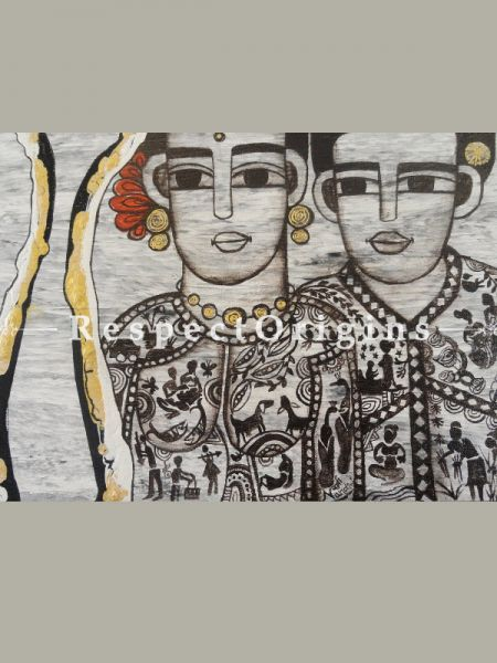 Horizontal Art Painting of Couple ;Acrylic on Canvas; 18in X 12in at RespectOrigins.com