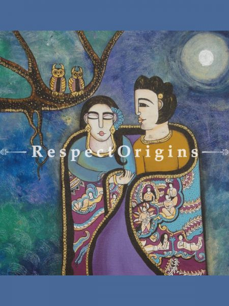 Square Art Painting of Couple in moon night ;Acrylic on Canvas; 26in X 26in at RespectOrigins.com