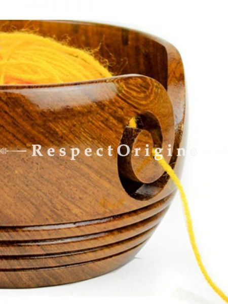 Buy Rosewood Crafted Wooden Yarn Storage Bowl with Decorative Rings At RespectOrigins.com