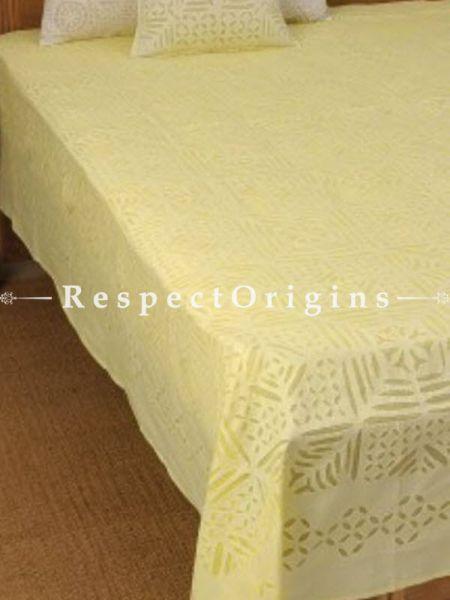 Buy Cream color Applique Work bed cover; Double, Cotton, 90x108 in At RespectOrigins.com