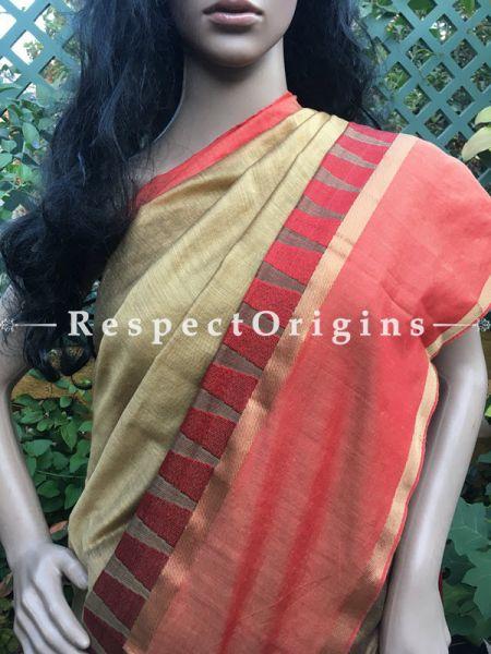 Cream; Cotton Silk; Handloom Saree, RespectOrigins.com