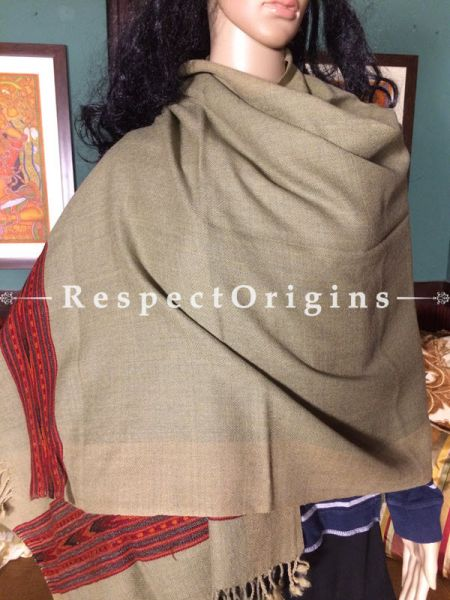 Buy Cream Hand woven Woolen Kullu Stoles From Himachal with red borders; Size 80 x 27 inches at RespectOrigins.com