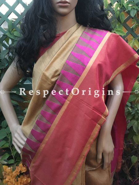 Cream; Handloom Saree; Cotton Silk, RespectOrigins.com