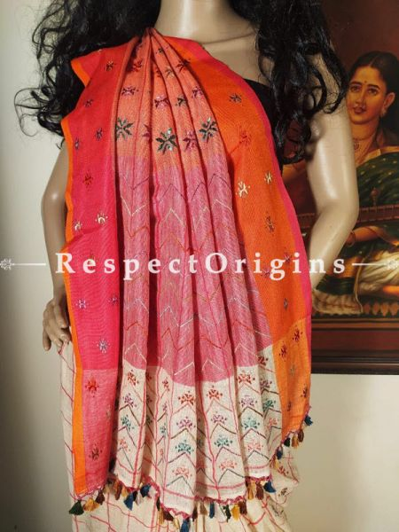 Creamy White Suf Hand-embroidered Handwoven Linen Saree with Orange and Pink Two Toned Border; Natural & Organic Online at RespectOrigins.com