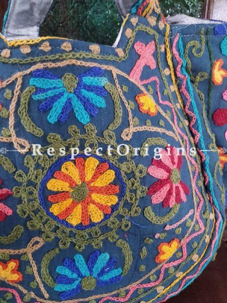 Richly Embroidered Blue Satin Lined Crewel Hand Bag; RespectOrigins.com